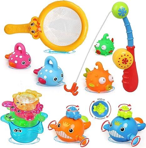 Kit Juguetes de Pescar Juegos Piscina Juguetes de Ba/ñera de Cuerda para Beb/é con Bolsa de Almacenamiento Tintec Juguetes de Ba/ño Bebe