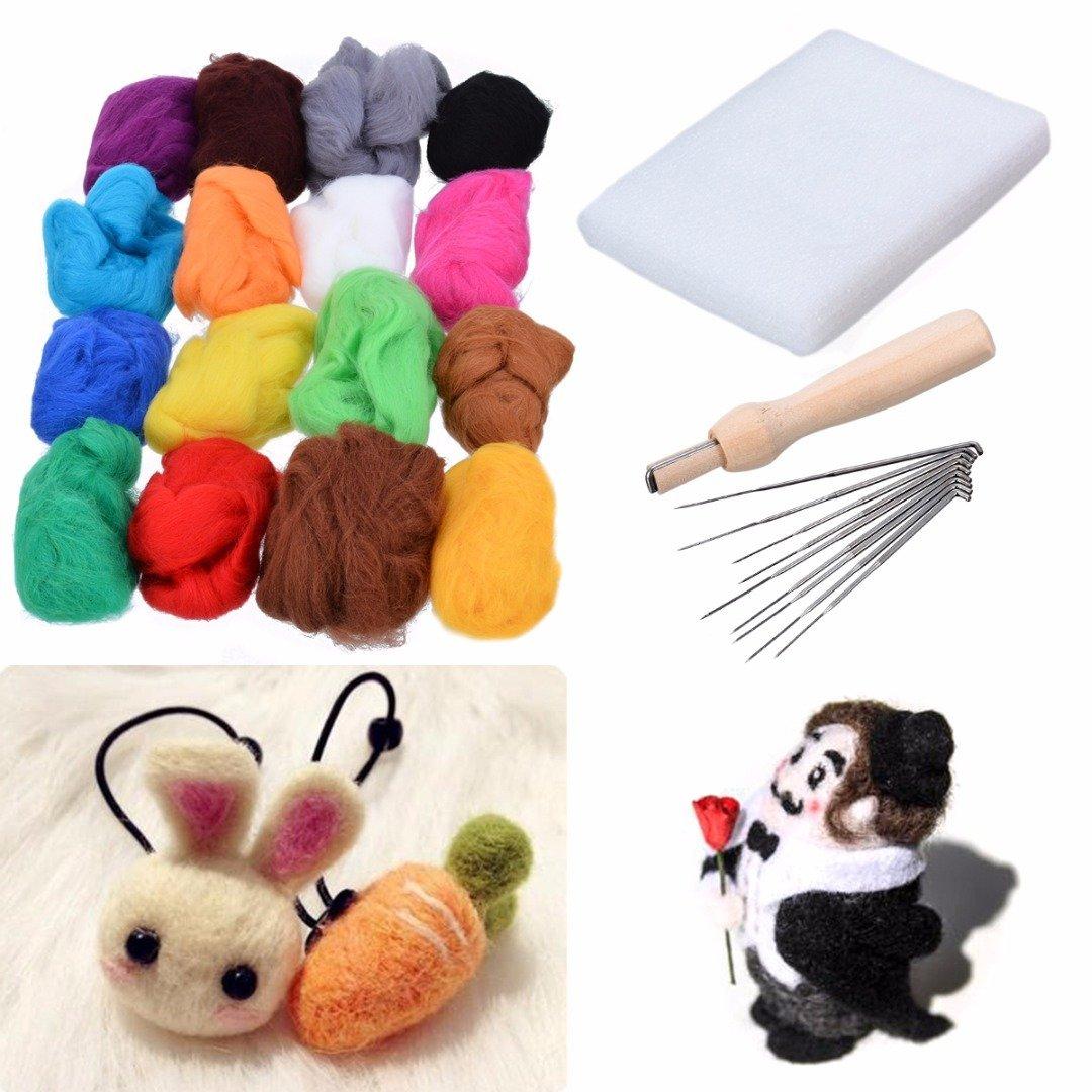 Wool Felting of 20 Colors x 5g + Wool Felting Needles Felting Mat Starter Tool Kit for Hand Spinning DIY Craft PDTO
