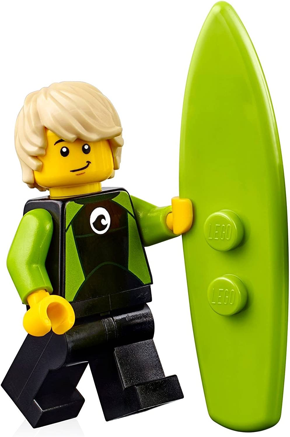 LEGO City Minifigure: Surfer in Black and Lime Wetsuit (w/ Surfboard) 60163