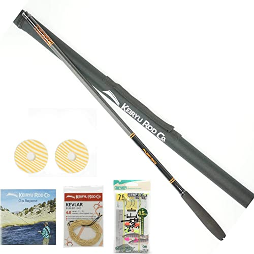 Keiryu Rod Co. Telescoping 17.7 FT Keiryu Trout Rod. Perfect for Weighted Nymphs, Bait, Artificials. High Performance IM Carbon Rod and Starter Kit.