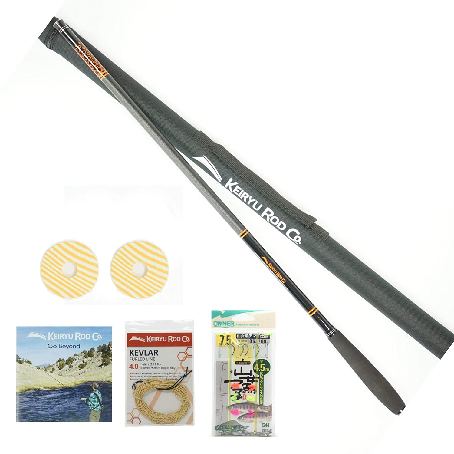 Keiryu Rod Co. Telescoping 17.7 FT Keiryu Trout Rod, Perfect for Weighted Bait and Nymphs, High Performance IM Carbon Rod and Starter Kit