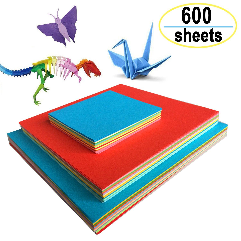 Origami Papier faltpapier–600fogli di Carta Doppio Lato dura cartoncino Set per origami e progetti creativi Amison
