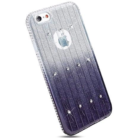Ysimee Compatible con Fundas iPhone 6 Plus 6S Plus Estuches,Silicona Suave Bling Brillo Brillante Glitter con Marco de Strass Caso Ultra Fina Delgado ...