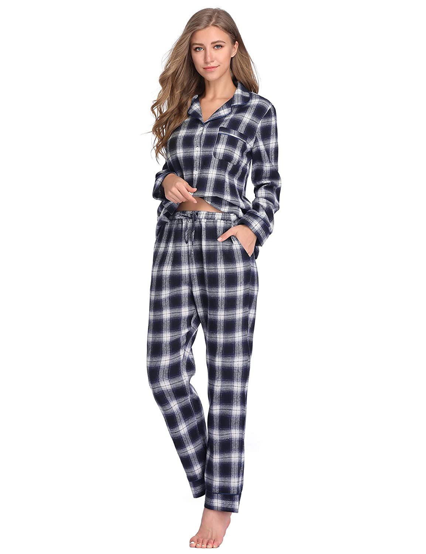 Lusofie Cotton Pajamas Set for Women Plaid Long Sleeve Button-Down Pjs  Sleepwear at Amazon Women s Clothing store  4312453cf