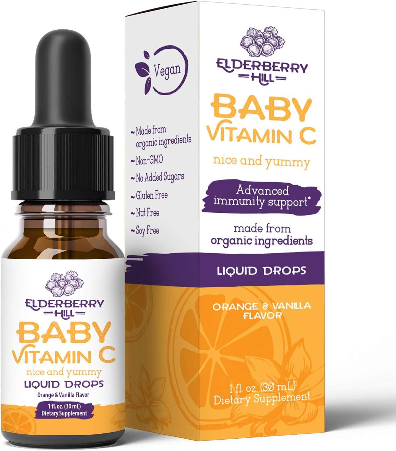 Elderberry Hill Organics Baby Vitamin C Liquid Drops from Organic Amla Fruit, Vegan & Non GMO Organic VIT C Immune Support Supplement for Kids 1 fl. oz (30 ml)
