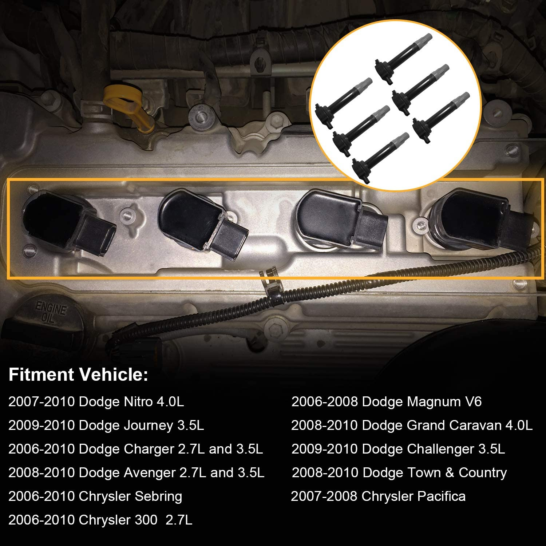 Chrysler V6 2.5L 2.7L 3.5L Fits Dodge Magnum 2008 2010 Chrysler 300-2006 2007 Challenger 6Pcs Ignition Coils Pack 4606869AA Replacement for Dodge Nitro Dodge Charger 2009 Fits Dodge