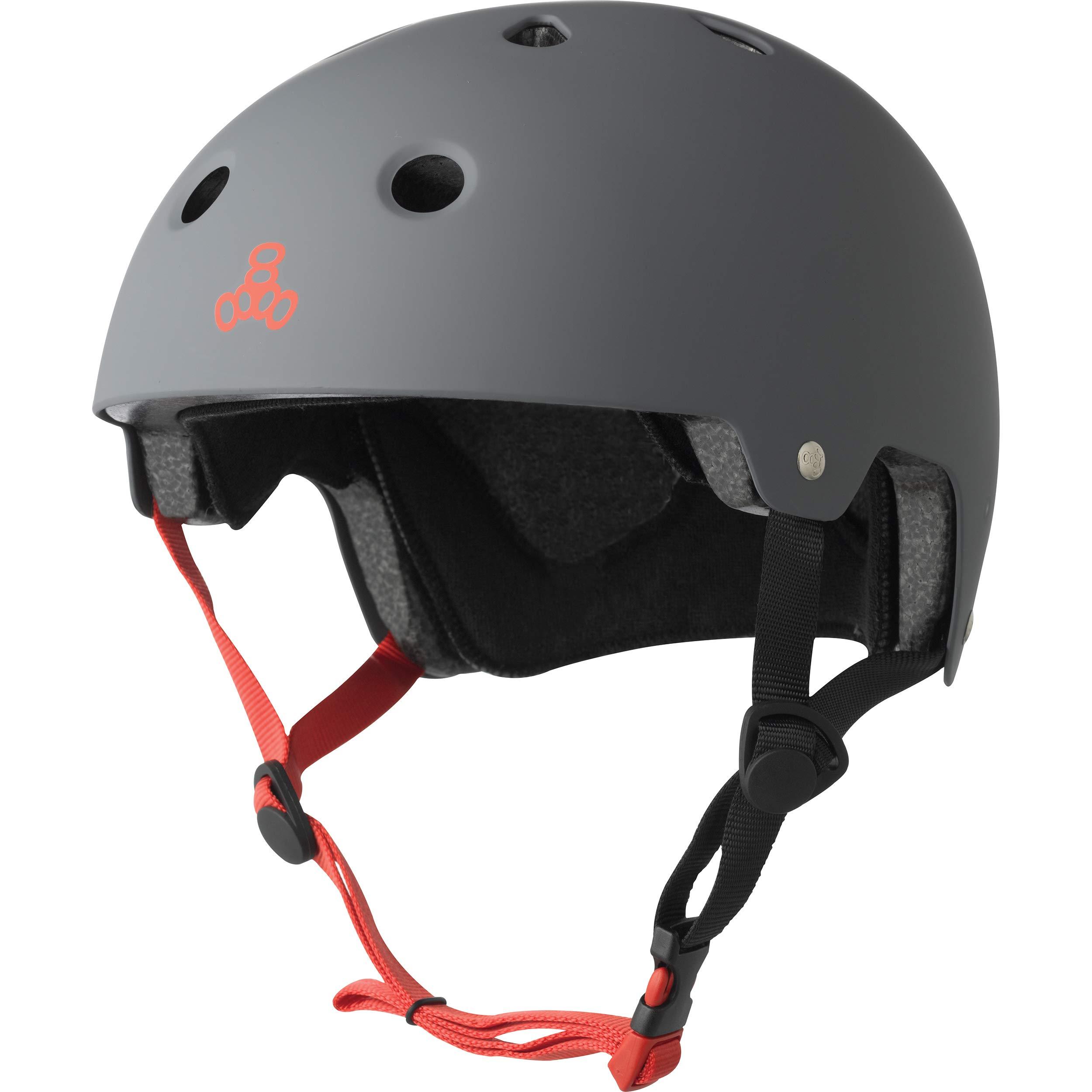 Triple Eight Dual Certified Bike and Skateboard Helmet, Gun Matte, X-Small / Small