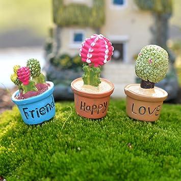 Miniaturas Jardín de Hadas Micro Paisaje Bonsai Casa de Muñecas Figurita Amor Adorno: Amazon.es: Juguetes y juegos