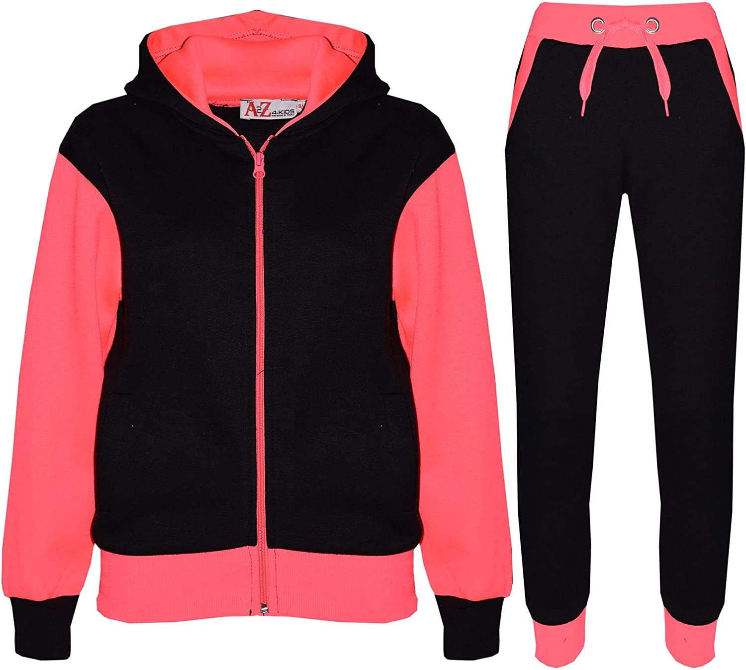 2-3 Years Plain 101 A2Z 4 Kids/® Kids Tracksuit Girls Boys Designers Plain Contrast Neon Pink