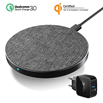 Wefunix Cargador Inalámbrico Rápido, Qi Quick Charge 3.0 Wireless Charger USB C 7.5W para iPhone XS MAX XR X 8 8 Plus Mix 2S, Base de Carga ...