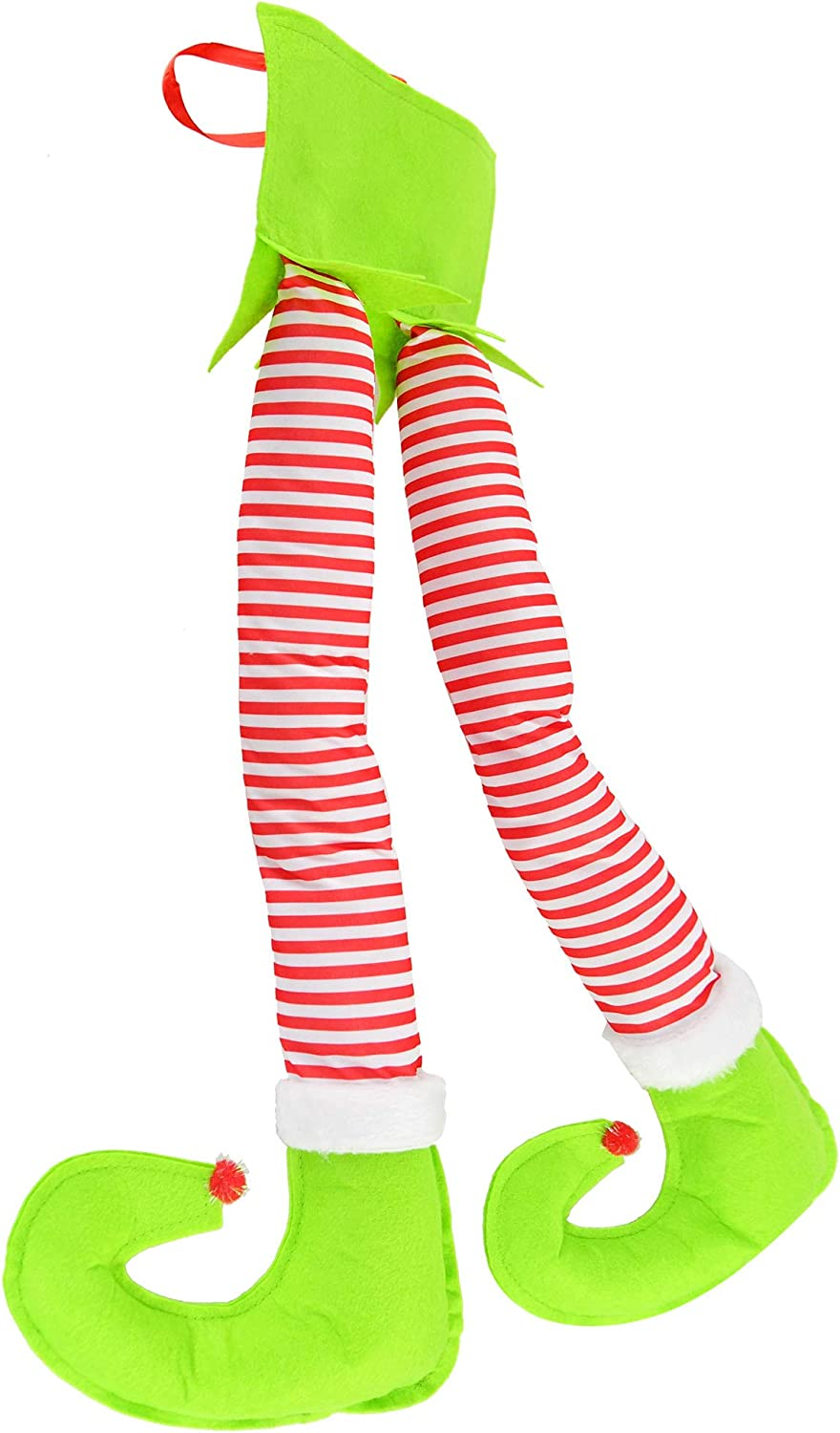 "Home-X Hanging Elf Legs, Christmas Home Decor, Festive Christmas Decorations for The Home or Car, 24"" L x 8"" W x 2"" H, Red/White/Green"