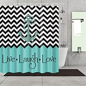 Eleroye 72 x 72 inches Shower Curtain Black White Zigzag Anchor Chevron Teal Live Laugh Love Positive Water Soap Resistant Machine Washable Fabric Bathroom Decor Set with Hook Bath Curtain