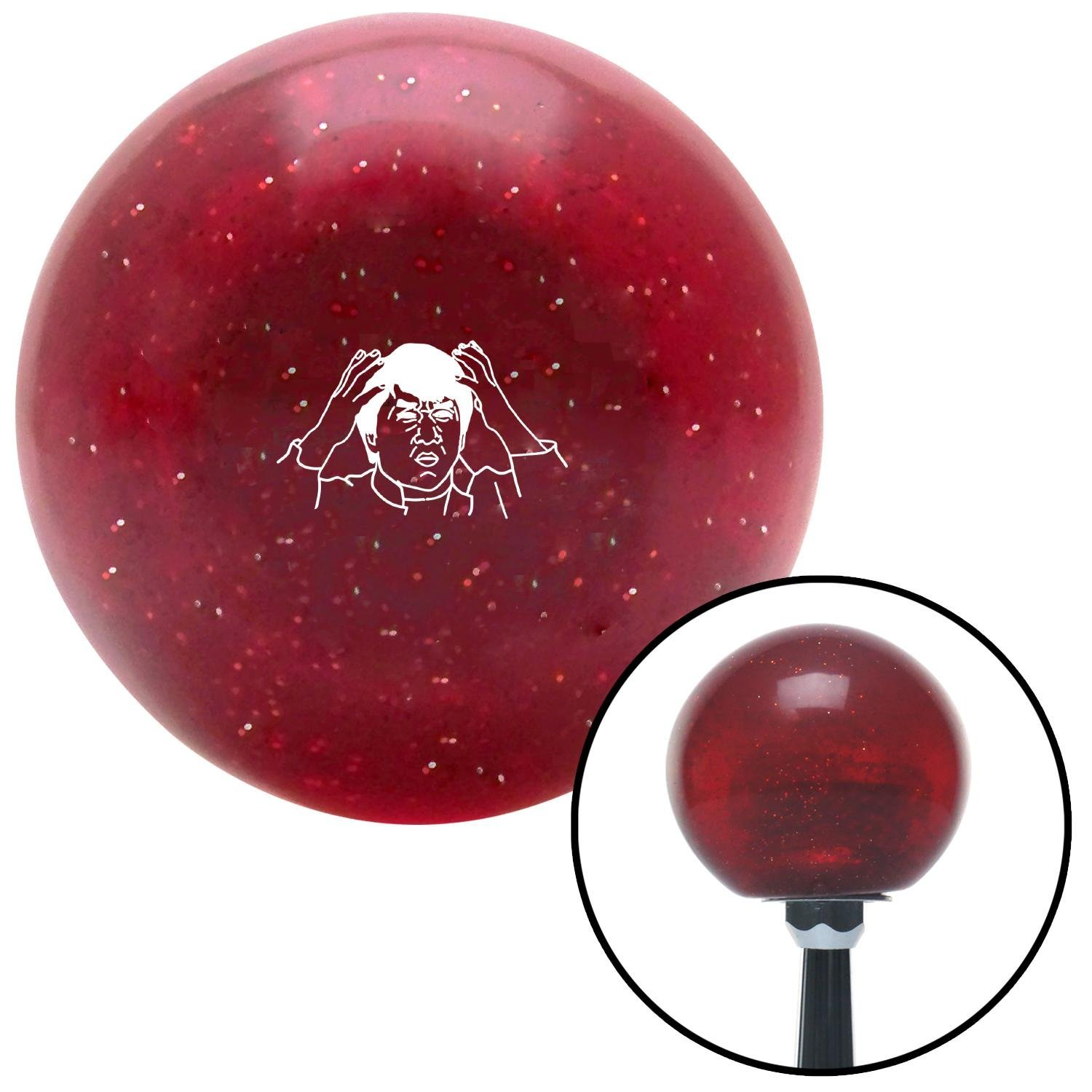 American Shifter 282220 Shift Knob White Jackie Chan Red Metal Flake with M16 x 1.5 Insert