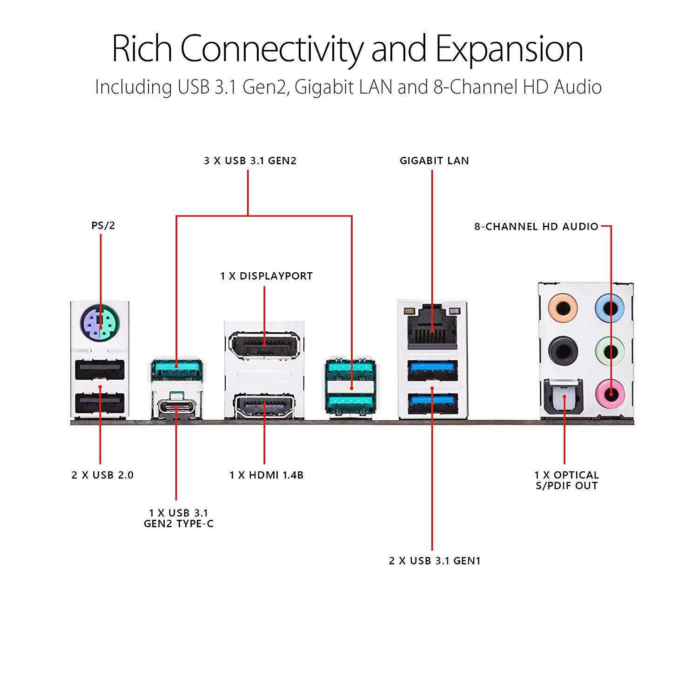 ASUS Prime Z390-A Motherboard LGA1151 ATX DDR4 DP HDMI M.2 USB 3.1 Gen2 Gigabit LAN Intel 8th and 9th Gen
