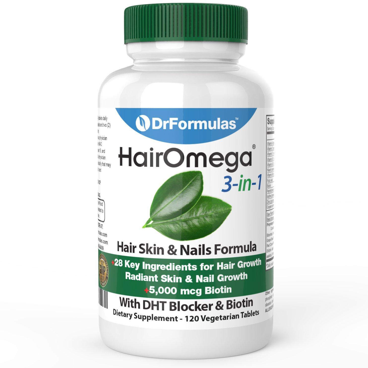 DrFormulas HairOmega 3-in-1 Hair Growth Vitamins with DHT Blocker, Biotin for Women & Men | Hair Skin and Nails Supplement for Hair Loss, 120 Pills by DrFormulas