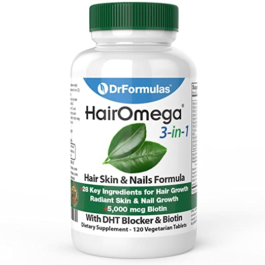 DrFormulas HairOmega 3-in-1 Hair Growth Vitamins with DHT Blocker, Biotin for Women & Men