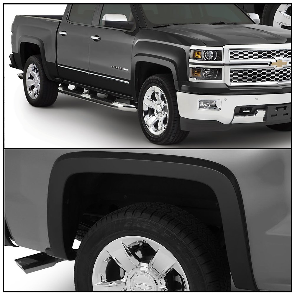 2015 2016 2017 OE Style Black PP Injection Right Left Wheel Cover Protector Vent Trim By IKON MOTORSPORTS Fender Flare Fits 2014-2018 Chevy Silverado 1500 2500HD 3500HD