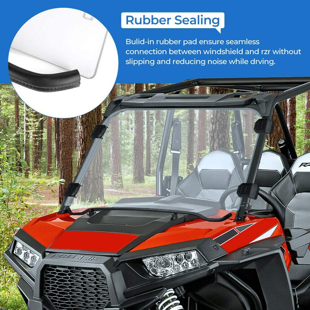 S 800//4 800//900 kemimoto Polycarbonate Front Full Windscreen Compatible with Polaris RZR 800 RZR 570 4 900 RZR 900 Full Windshield