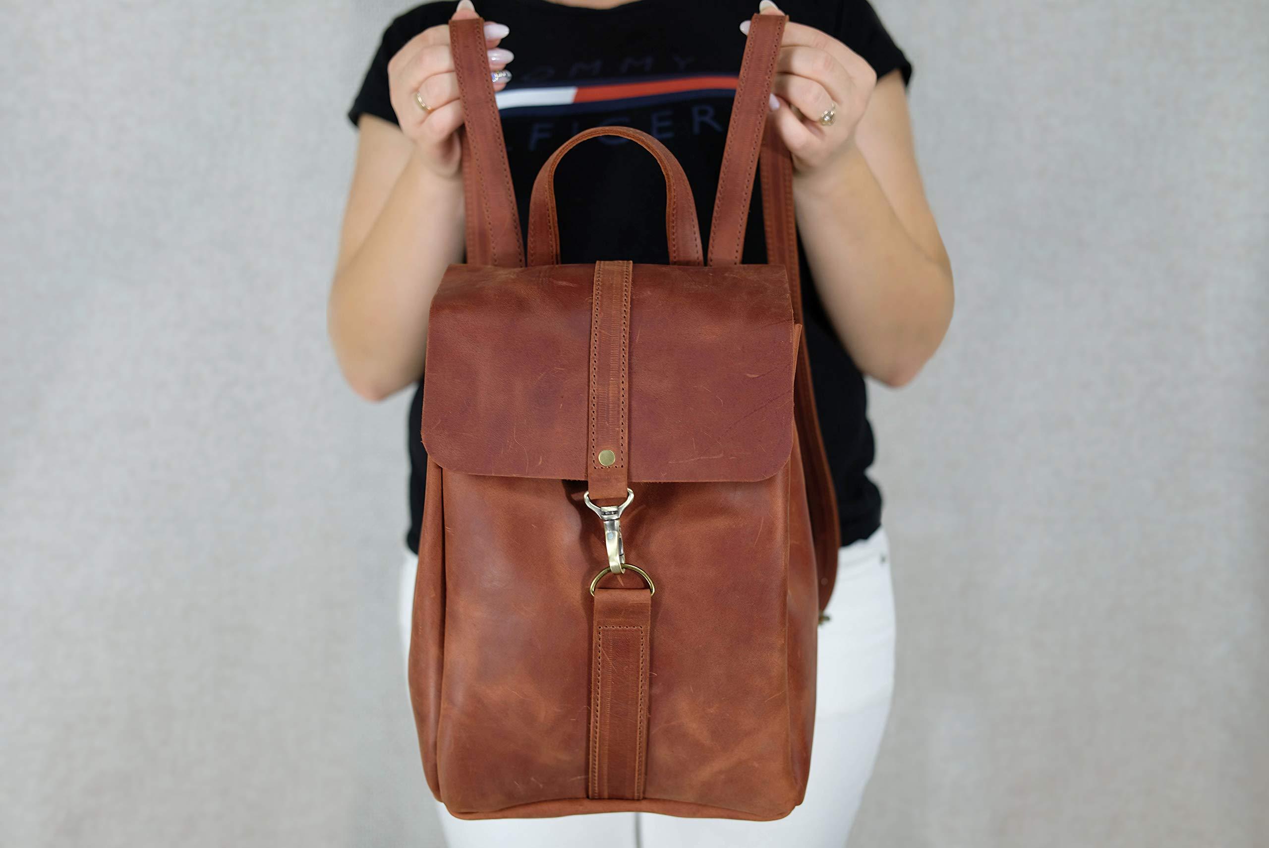 Leather backpack, Women backpack, Leather backpack women, Brown women backpack, Gift anniversary, Shoulder Bag, Monogram, Work, Handbag 9 x 12.6 inch