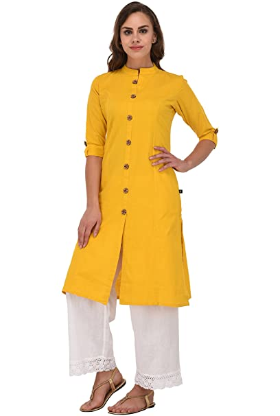 c794068feb1 Pistaa Women Yellow Cotton Front open Solid Kurta With Plus Size   Amazon.in  Clothing   Accessories
