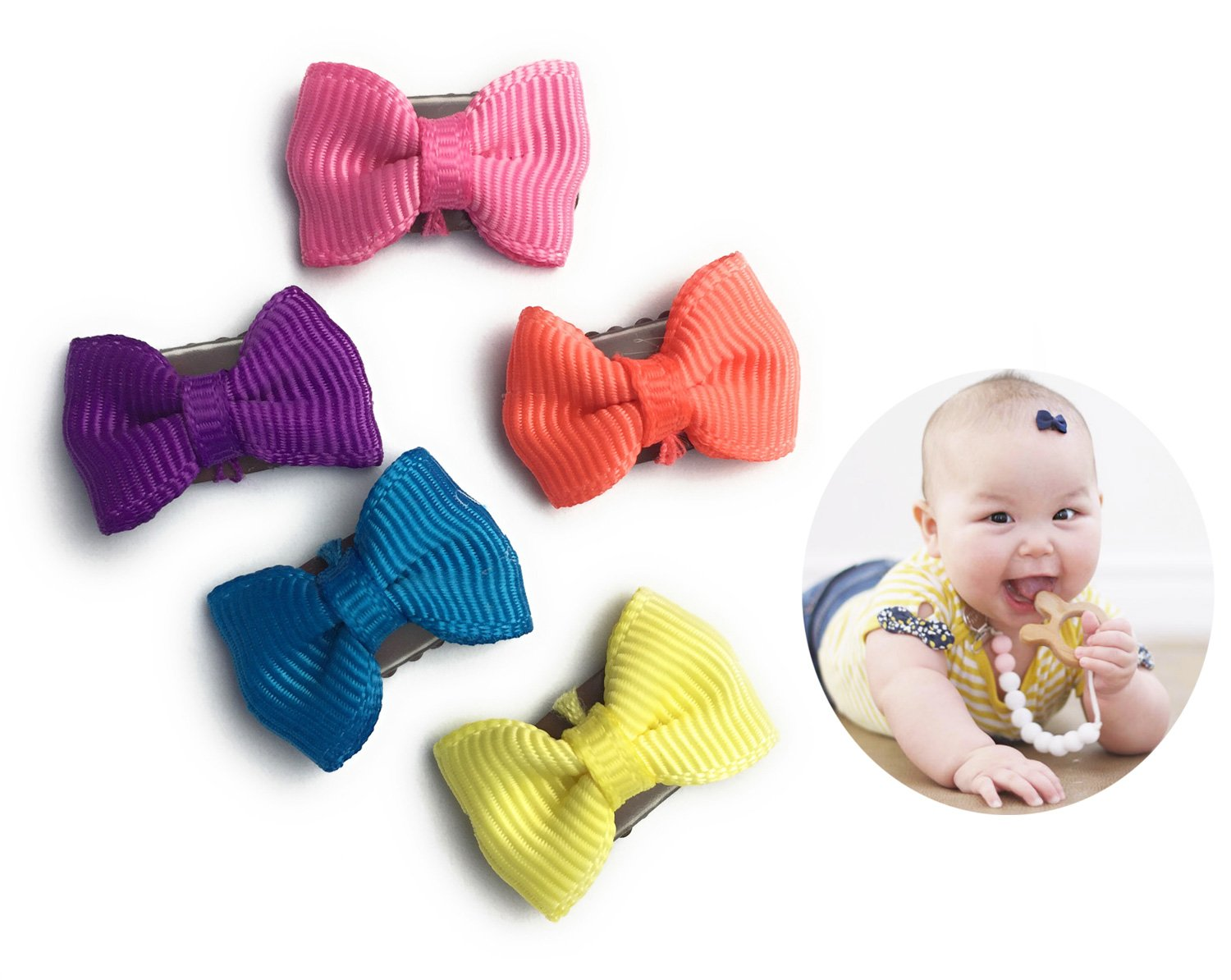 Baby Wisp 5 Grosgrain Mini Latch Clip Hair Bows Baby Girls Fine Hair Gift Set