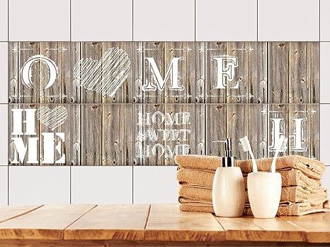 GRAZDesign 770503_10x10_FS10st Fliesenaufkleber Holz Home Sweet Home für  Bad oder Küche | alte Küchen-Fliesen überkleben | Fliesenbild selbst ...