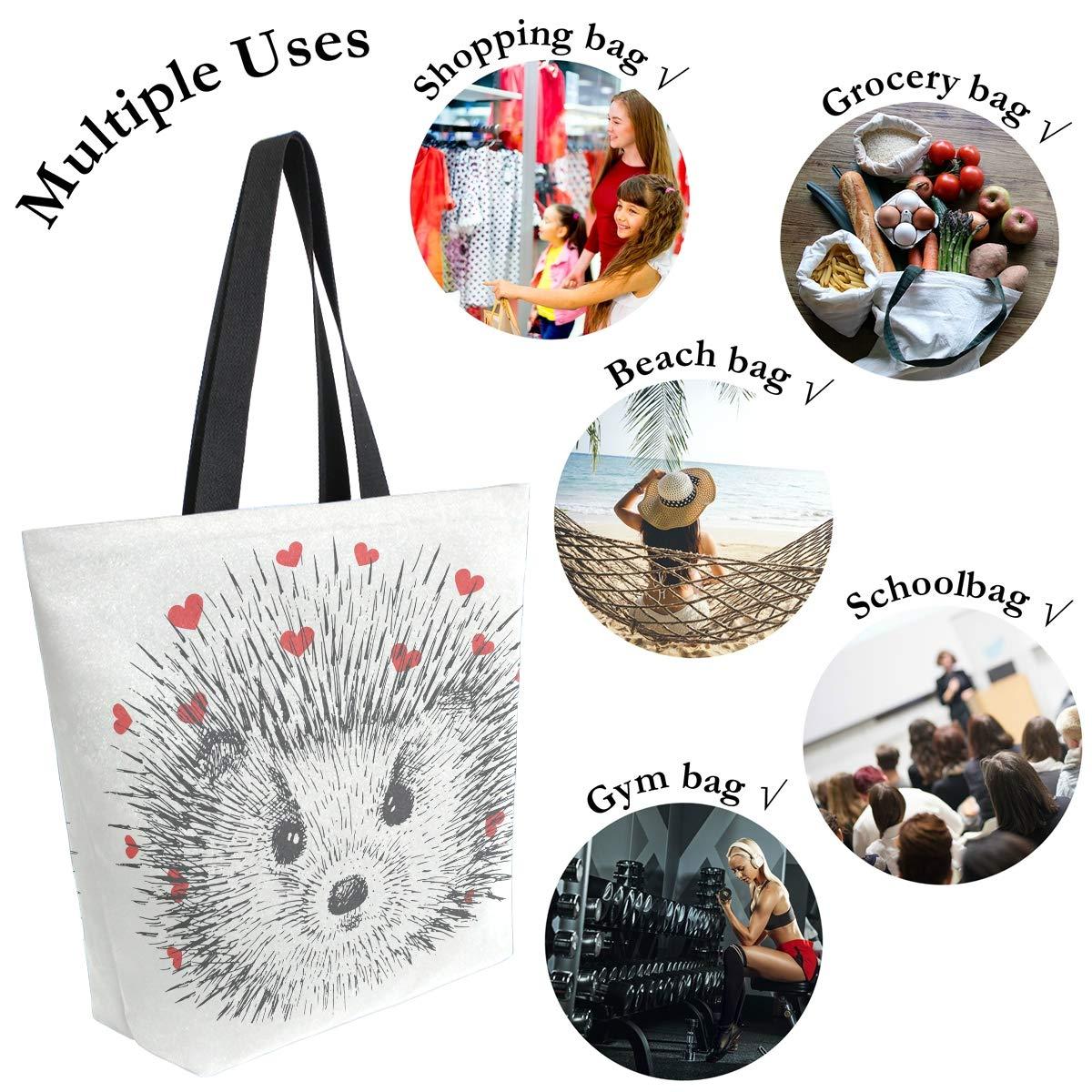 Naanle Animal H/érisson Sac fourre-tout en toile pour femme Grand sac /à bandouli/ère d/écontract/é Sac /à main Saint-Valentin R/éutilisable Multifonction Sac de courses en coton pour lext/érieur.