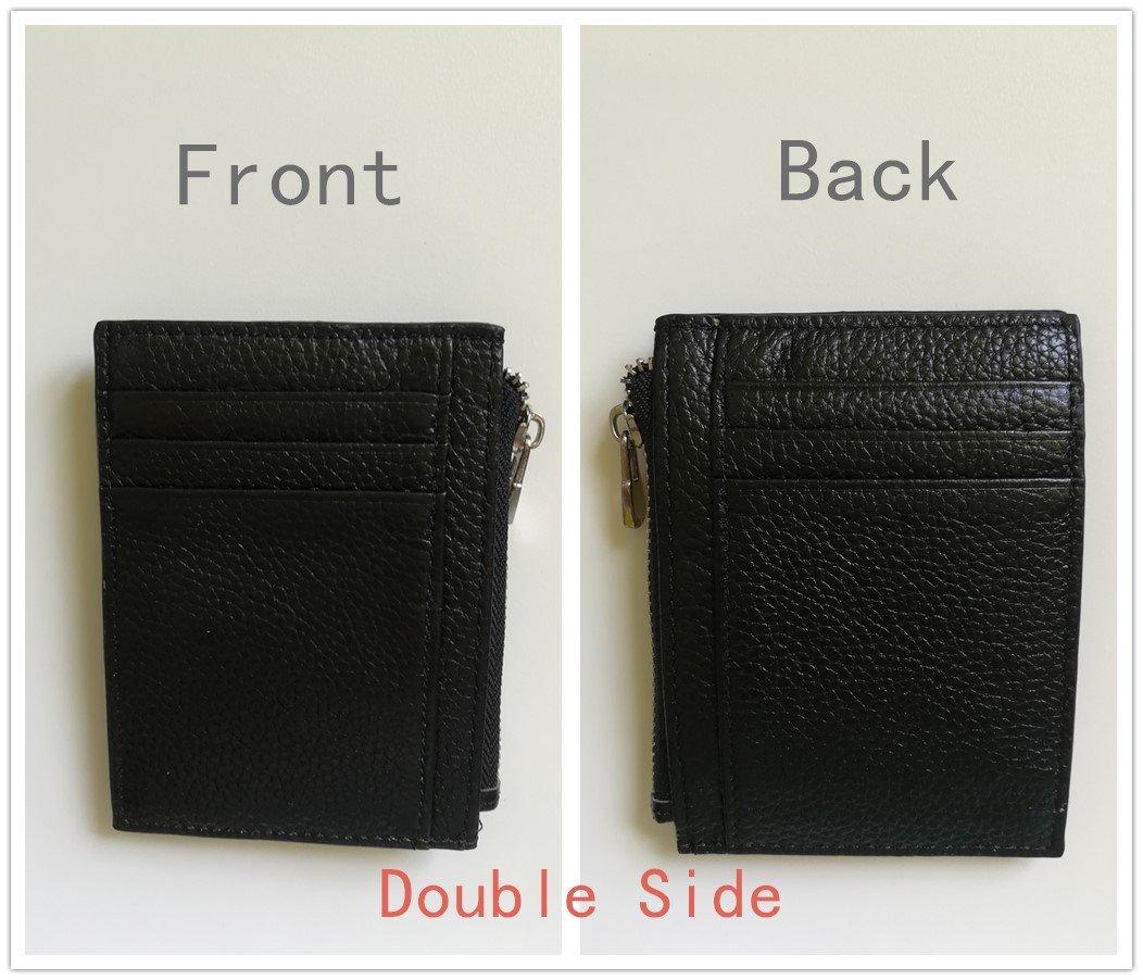 Portefeuille pour Homme en Real Cuir-Jingleer Etui RFID Blocage Porte Carte de Crédit, Zip Porte-Monnaie for Men
