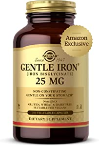 Solgar Gentle Iron, 240 Vegetable Capsules - Ideal for Sensitive Stomachs - Non-Constipating - Red Blood Cell Supplement - Non GMO, Vegan, Gluten Free, Dairy Free, Kosher - 240 Servings