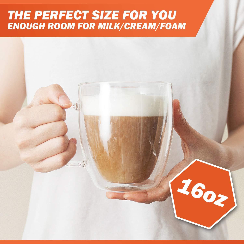Grande tasse /à caf/é en verre double paroi Passe au micro-ondes et au lave-vaisselle unique /& isolant avec poign/ée Verre transparent 470 ml par Elixir Glassware