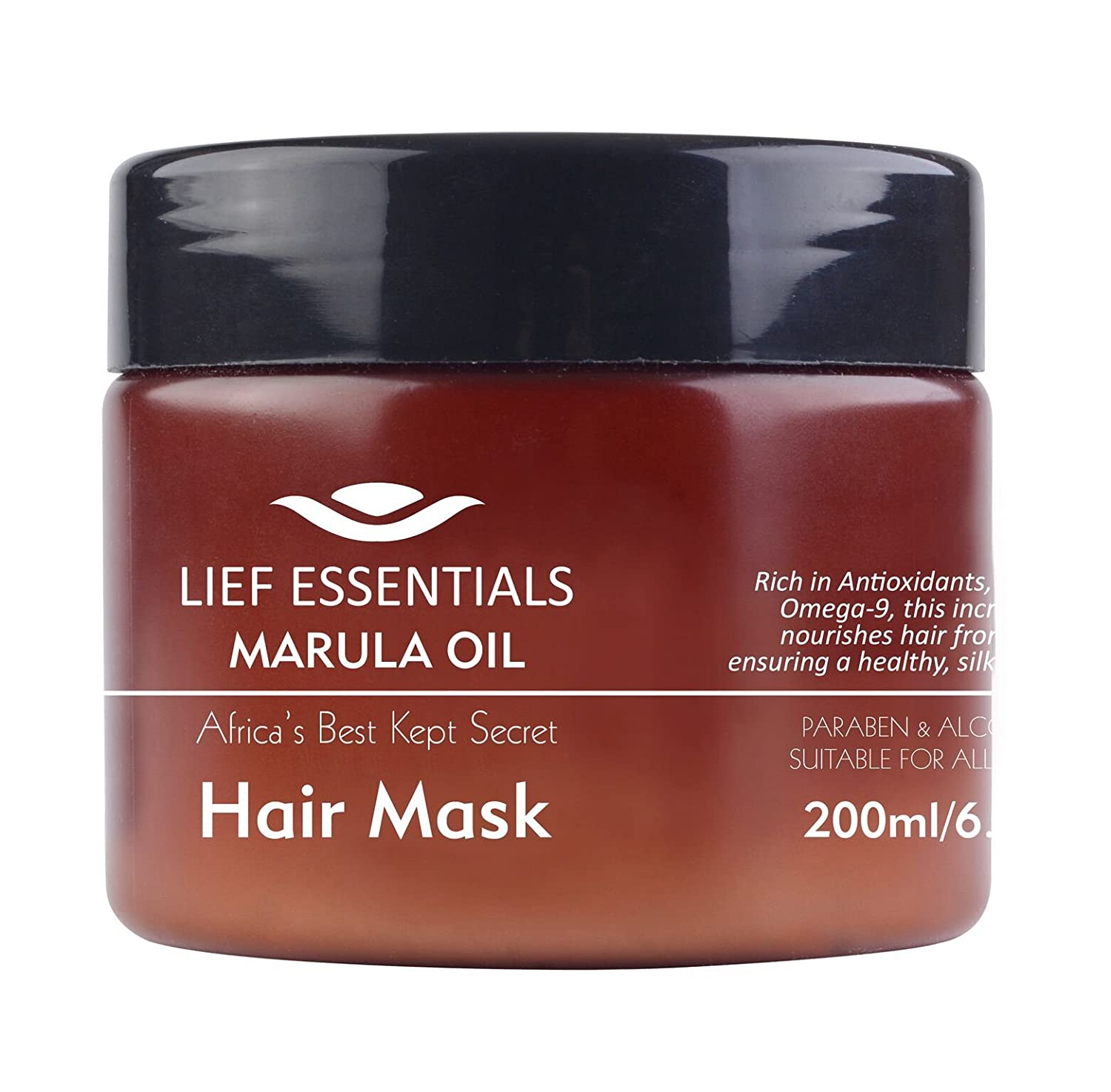 LIEF ESSENTIALS Hair Mask with Pure Organic African Marula Oil Suitable For All Hair Types Cruelty-Free 200ml MOHMASK200