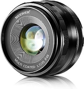 Neewer 35 mm f/1.7 Lentes con Fuego Manual para cámaras Digitales Sony E-Mount con Sensor APS-C, como Sony A7III A9 NEX 3 3N 5 NEX 5T NEX 5R NEX 6 7 A6400 A5000 A5100 A6000 A6100 A6300 A6500 A3000