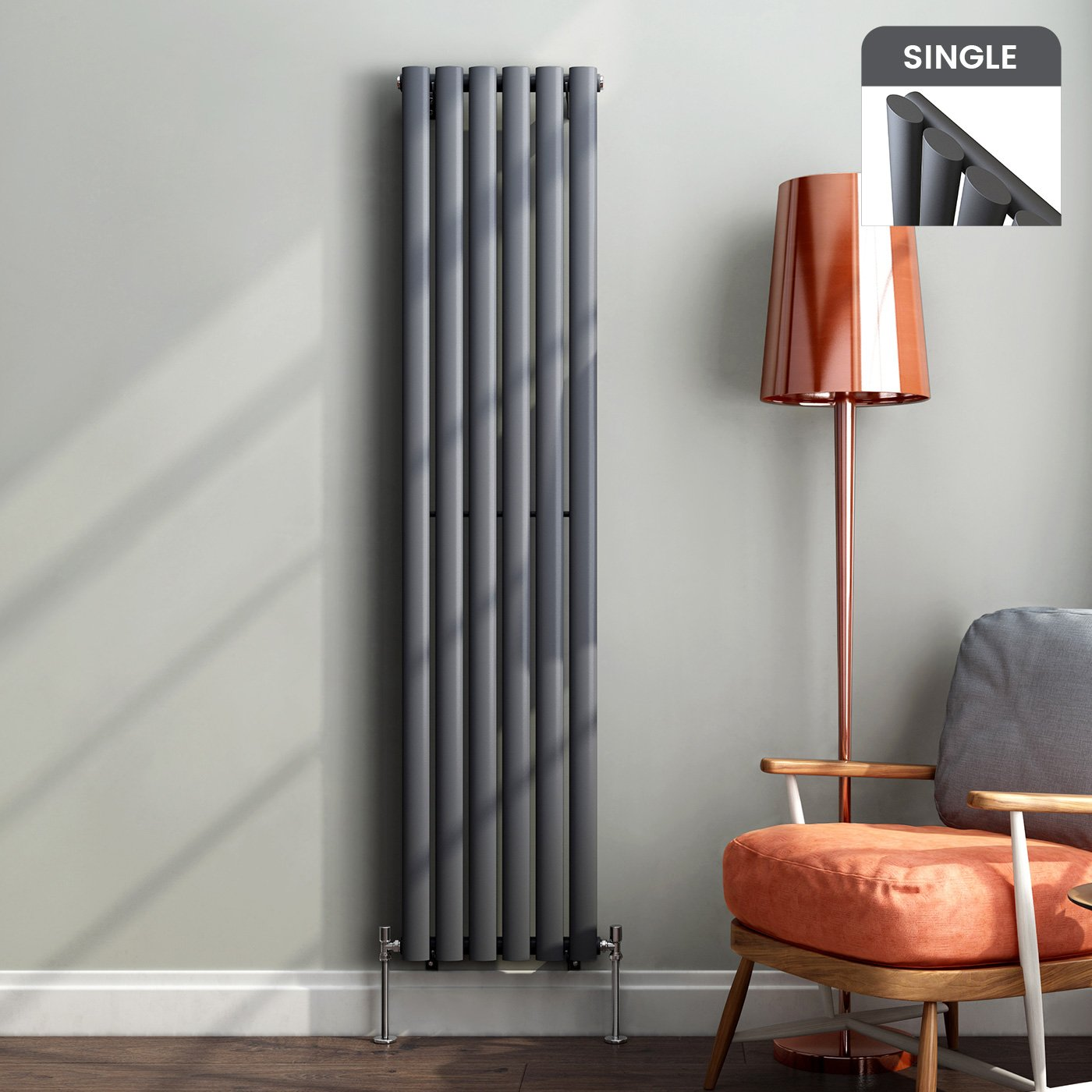 1600 X 360 Mm Vertical Column Radiator Anthracite Oval Single