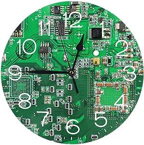 KZEMATLI Home Decor Green Computer Circuit Board Wall Clock Non Ticking Silent Clock Art for Living Room Kitchen Bedroom Clock
