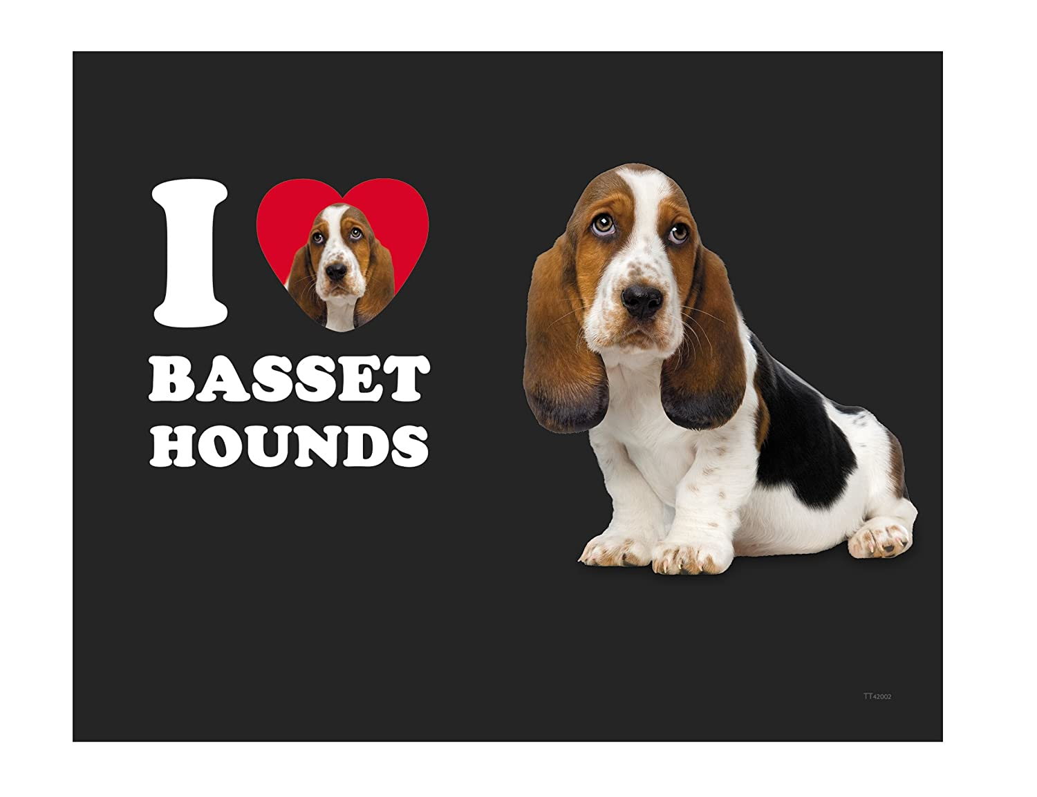 Tree-Free Greetings TT42002 I Heart Basset Hounds 18-8 Double Wall Stainless Artful Tumbler 14-Ounce