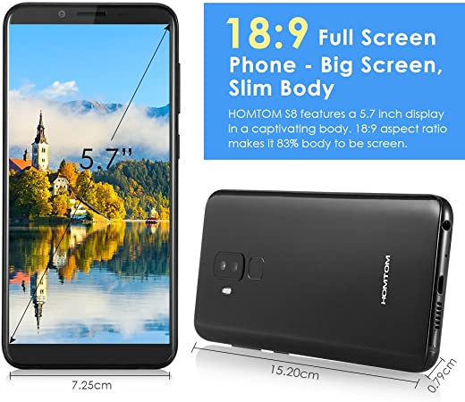 homtom S8 4 G Smartphone, 5.7 Pulgadas Pantalla 18: 9 Relación/Android 7.0 4 GB Memoria 64 GB ROM/16MP + 5 MP cámara Dual Ruck/Huellas Dactilares (Negro): Amazon.es: Electrónica