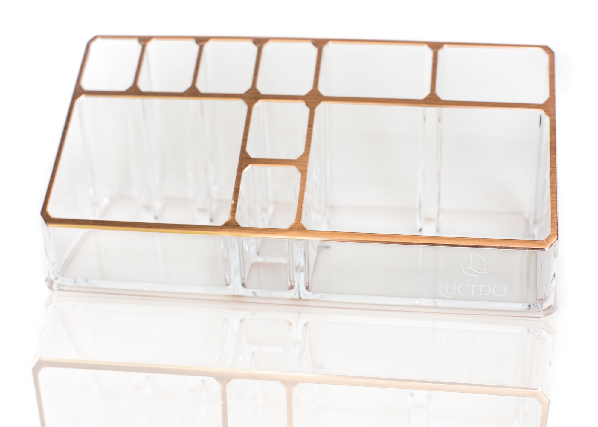 Rose Gold Acrylic Cosmetics Makeup Jewelry Stationery Organizer Holder Desk Caddy by Lucido Cosmetics
