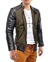 Mens Leather Jacket Hells Diavolo biker in pelle foderata ID1171