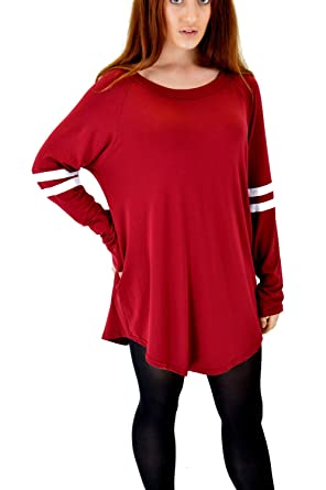 MT Products Womens Oversized Curved Hem Loose fit Varsity Jersey Plain Long  Sleeve T Shirt Dress bf5a26dcab