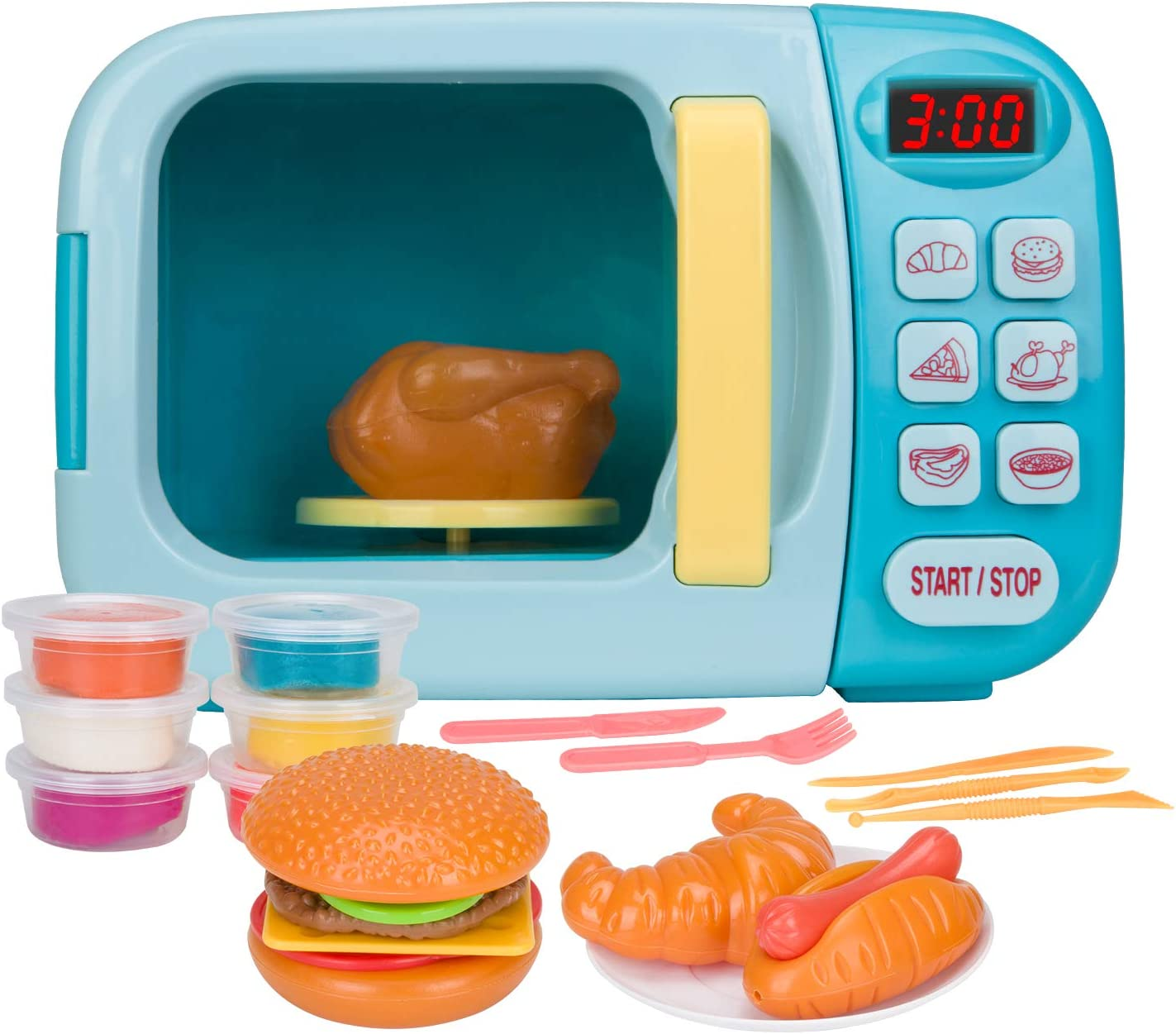 Amazon Com Christoy Microwave Kitchen Play Set With Light Sound For Kids With Pretend Fake Food And 6 Color Diy Play Dough Clay Great For Toddlers 3 And Older Grils And Boys Blue Toys