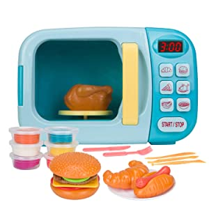 Chrisoty Microwave Kitchen Play Set for Kids with Pretend Fake Food - Toy Great for Toddlers 3 and Older Grils and Boys (Blue)
