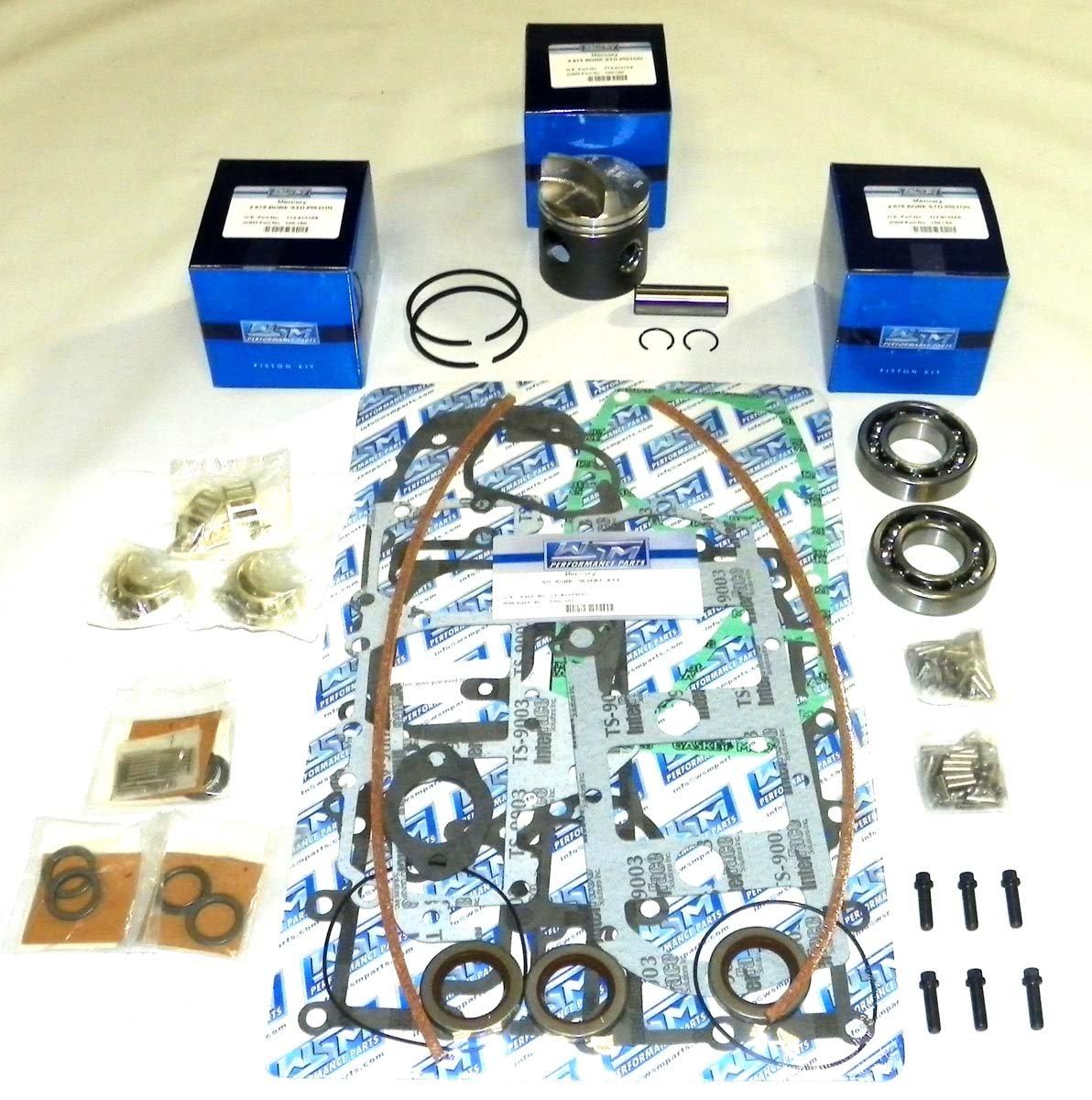 Mercury 50 & 60 Hp 1984-1990, 70 Hp 1977-1983 3 Cylinder Power Head Rebuild Kit PWC 100-15-10 OEM Piston # 774-8600A 3, 774 9137A 9 9 (STD (2.875''))