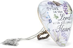 DEMDACO Trust In The Lord With All Your Heart Purple Floral 4 x 3 Inch Heart Shaped Resin Keepsake Art Hearts Decoration with Key and Tassel