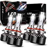 DOT Approval 9005/H10/HB3 High Beam 9006/HB4 Low Beam LED Headlight Bulbs Combo Package CSP Chips Adjustable Fog Light Conver