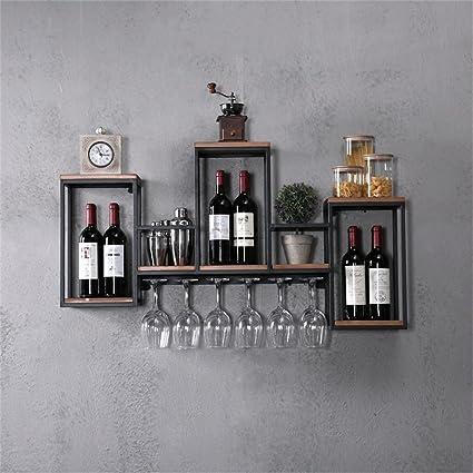 JJ_Industrial Mensola del vino da parete in metallo per soggiorno bar in  ferro | Mensola pensile a parete LOFT per camera da letto come scaffale per  ...