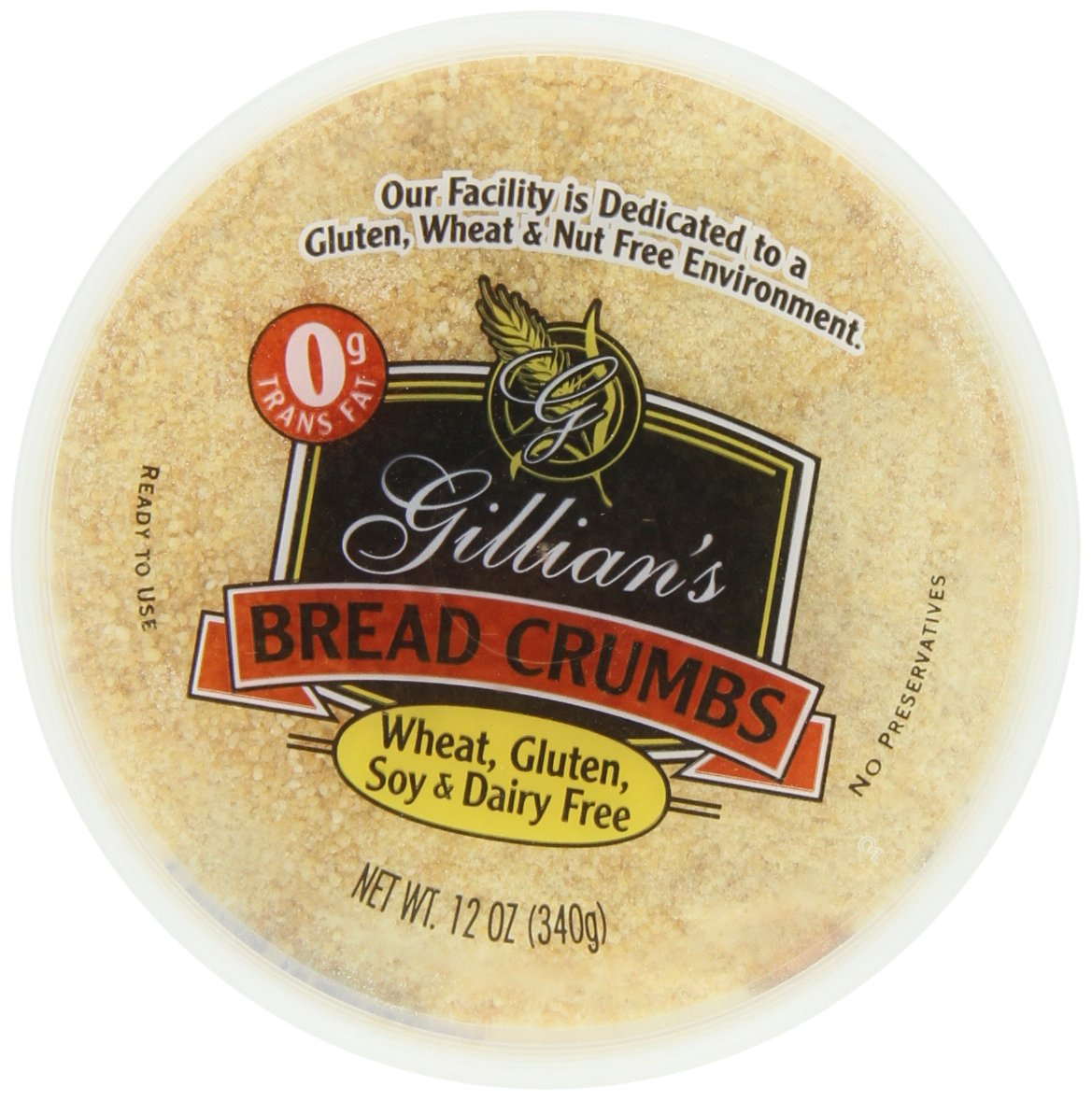 Gillian Bread Crumbs Wheat Free Gluten Free Dairy Free, 12-Ounce (Pack of 4) by Gillian
