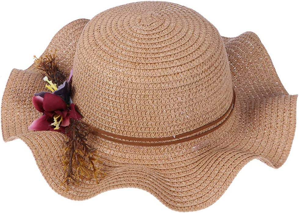 Shpflae Children Straw Hat Lotus Leaf Wave Along Sun Hat Cap Child Sunscreen Outdoor Fedora Beach