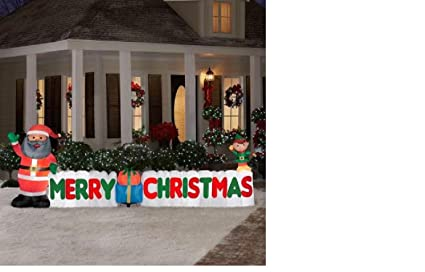 long inflatable african american santa and merry christmas sign scene - African American Outdoor Christmas Decorations
