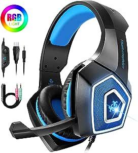 Bovon Cascos Gaming, Auriculares PS4 con Micrófono Cancelación de ...