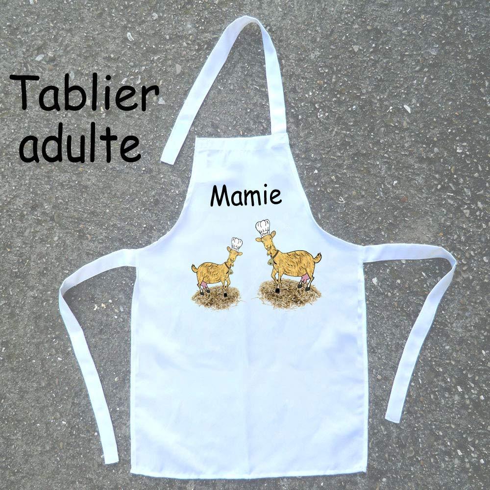 Texti-Cadeaux-Tablier cuisine adulte Chèvre à personnaliser Exemple: Mamie, Maman, Simone